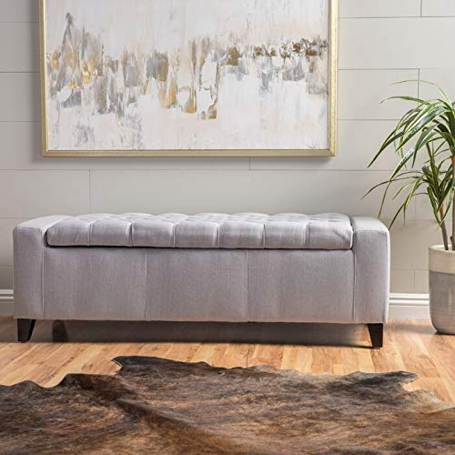 Adorn Homez 2 Seater Tufted Troy Ottoman Chaise with Storage in Fabric    Navy Blue   Standard, Grey