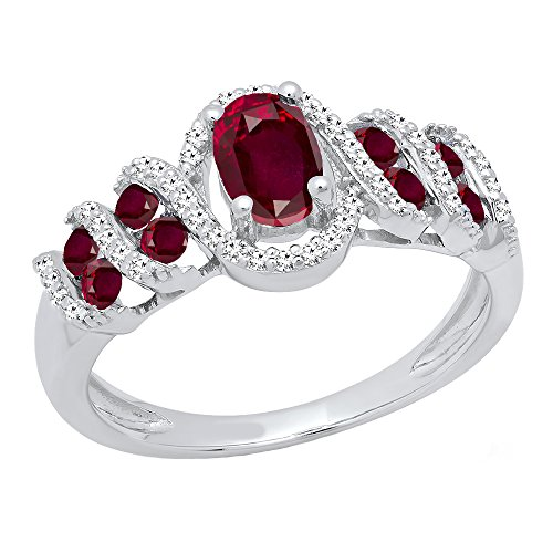 Dazzlingrock Collection Sterling Silver 6X4 MM Lab Created Oval & Round Ruby & Round Diamond Ladies Ring, Size 10 ()