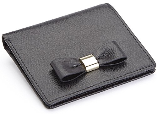 Royce Leather Rfid Blocking Mini Bow Wallet in Saffiano Leather, Black