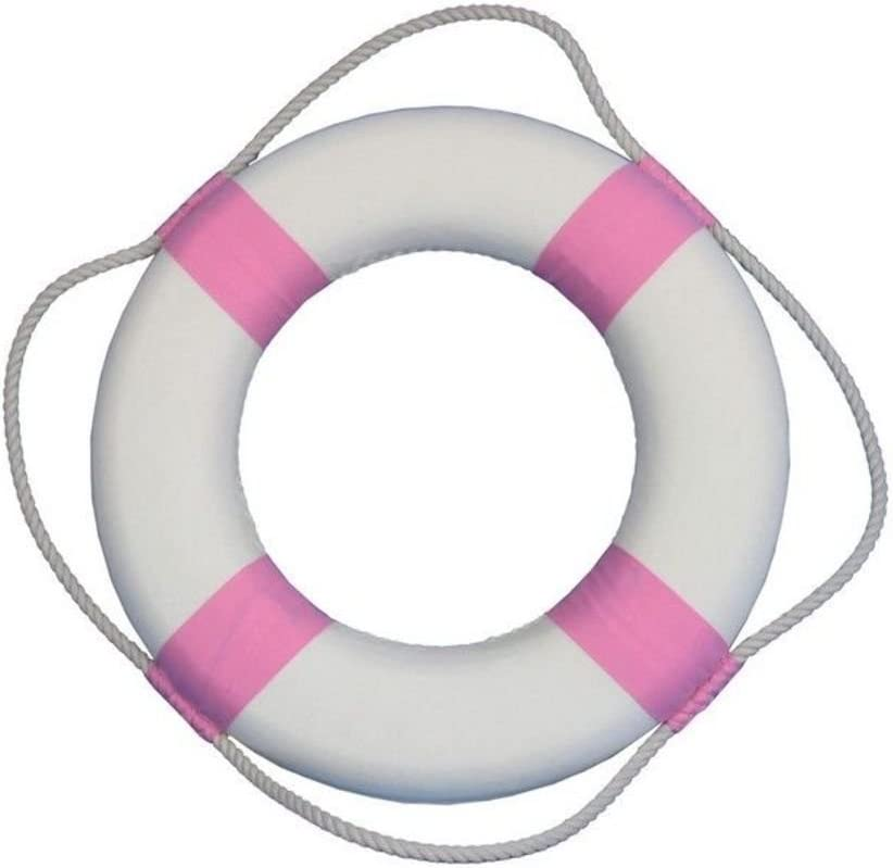 """Hampton Nautical Classic White Decorative Life Ring with Pink Bands, 15"""""""