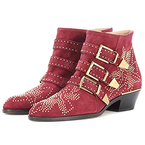 99e8127e4fc3a Amazon.com | GEEDIAR Leather Ankle Boots Women Rivet Booties Studded Shoes  Metal Buckle Shoes Low Heels | Ankle & Bootie