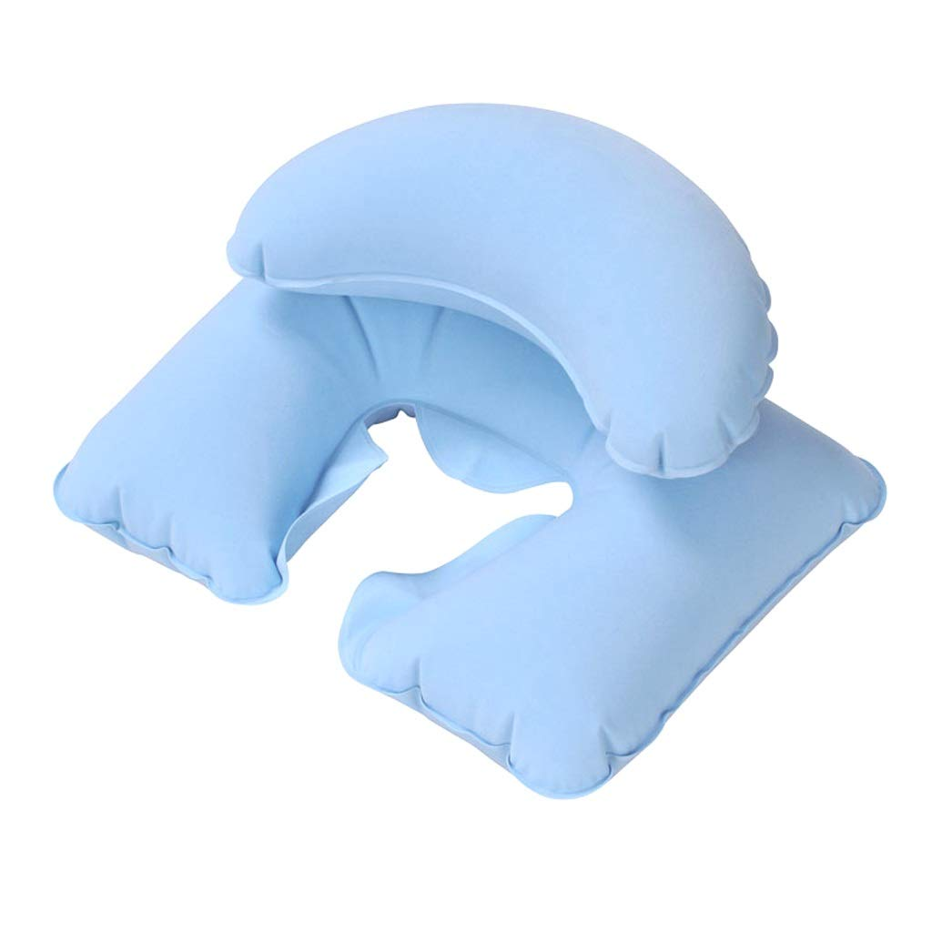 JSFQ U-Shaped Pillow Travel Inflatable Pillow Double-Layer Neck Pillow Inflatable Pillow Adult Nap Pillow U-Shaped Pillow U-Shaped Pillow (Color : Blue)