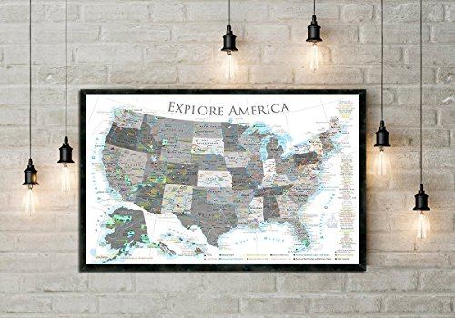 - National Parks Map, USA Push Pin Map, Black & White Edition, 24x18 inch map, Includes Historical Cities, and more - Framed Map