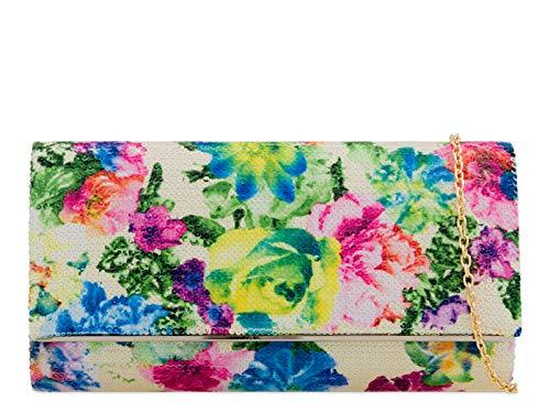 Evening Bag Floral Clutch White 2262 Purse Wedding Women's LeahWard Handbags nYq4AHPY