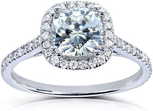 Kobelli Forever One Moissanite and Lab Grown Diamond Halo Engagement Ring 1 1/3 CTW 14k White Gold (DEF/VS)