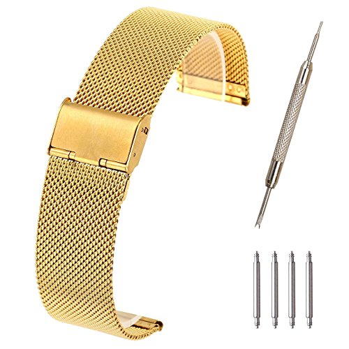 Top Plaza 22mm Stainless Steel Bracelet Wrist Watch Band Replacement Mesh Metal Strap Interlock Safety Clasp(Gold)