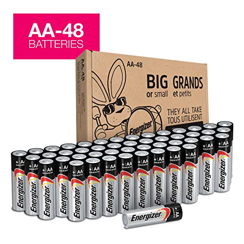 - Energizer AA Batteries (48Count), Double A Max Alkaline Battery - Packaging May Vary