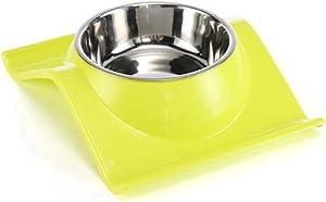Dressyougo Tilted Slanted Feeder Single Dog Cat Bowl, Raised Lips No Spill Food and Water Feeder, Reduce Neck Stress, Dishwasher Safe Yellow