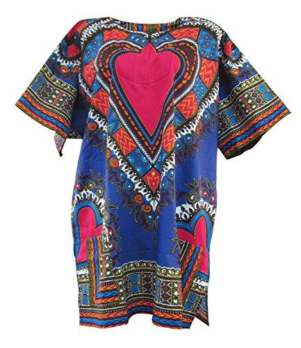 Bonya Women's Heart Traditional Dashiki Printed Unisex Top (RED-Blue)