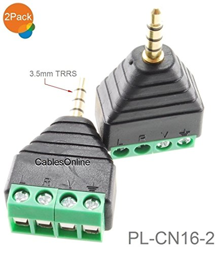 2-Pack 2.5mm TRRS 4-Pole Female Jack to 4-Screw Terminal Block Balun Connector