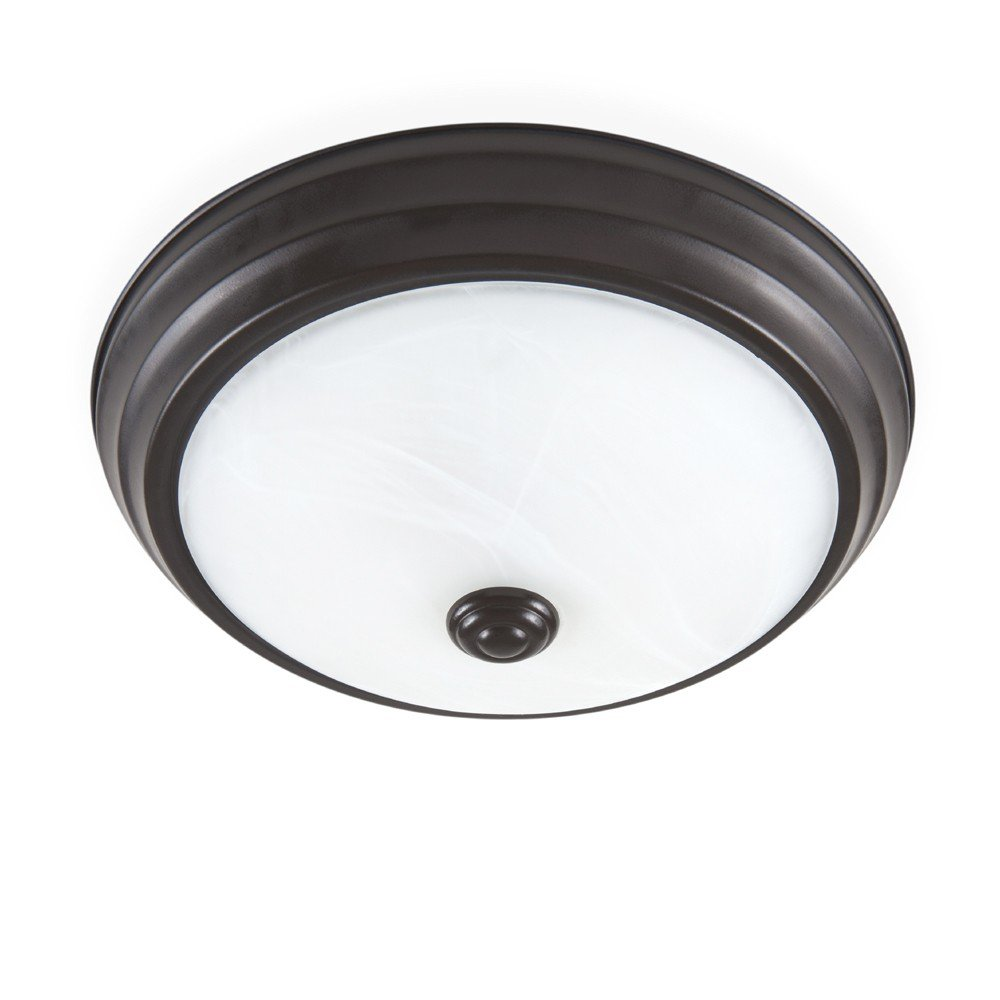 Designers Fountain EVLED502-34-DF Modern Satin Bronze LED Flush Mount with Alabaster Glass, 11''
