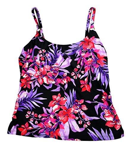 UPC 795459155899, Island Escape Scoop Neck Floral Print Tankini Top (12, Purple)