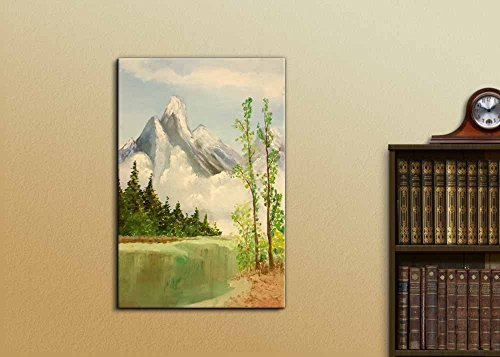 Beautiful Scenery of Mountain and Lake Nature Landscape at Day Time Oil Painting Reproduction