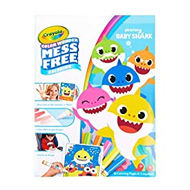 Crayola Baby Shark Coloring Pages, Color Wonder, Mess Free Coloring, Gift for Kids, Age 3, 4, 5, 6