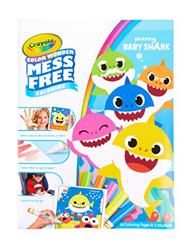 Crayola Baby Shark Coloring Pages, Color Wonder, Mess Free Coloring, Gift for Kids, Age 3, 4, 5, 6 -