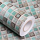 """Tools & Hardware : Mosaic Adhesive Paper Thick Self-Adhesive Removable Peel and Stick Wallpaper Matte Bathroom Wallpaper Kitchen Counter Paper Shelf Paper Countertop Vinyl Film Mosaic Wallpaper 16""""x78.7"""""""