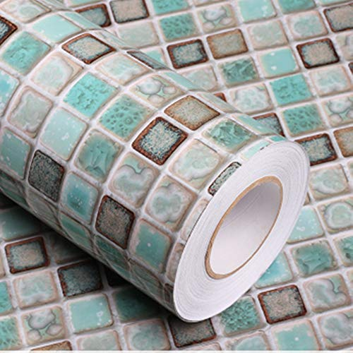 Mosaic Adhesive Paper Thick Self-Adhesive Removable Peel and Stick Wallpaper Matte Bathroom -