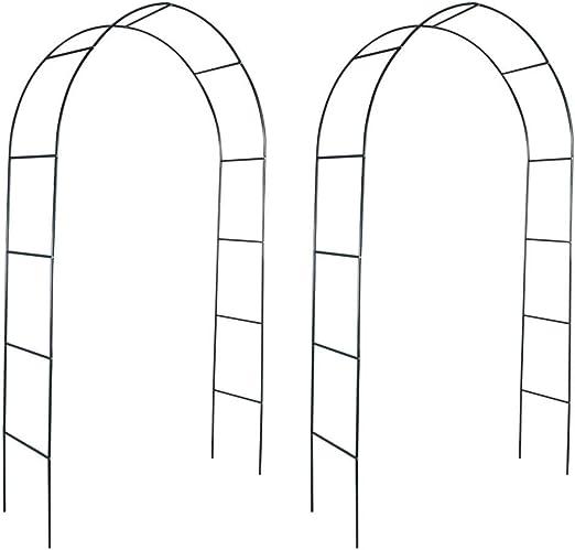 Arco de jardín 2 Piezas Arco para Enredaderas Arco con la Puerta Subiendo Las Plantas para Plantas Arco para Rosas Arco de Flores para Jardín Patio Terraza Hierro Verde Oscuro 140x39x240cm: Amazon.es: