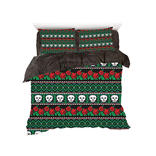 (iPrint Flannel 4 Piece Cotton Queen Size Bed Sheet Set for Bed Width 5ft Winter Holiday Pattern by,Skulls Decorations,Mexican Folk Art Skulls and Roses Knitted)