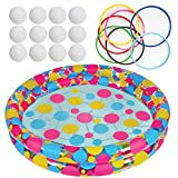 Water Ring Toss Game by Gamie - Super Fun Outdoor Games for Kids - Includes an Inflatable Pool, 12 Floating Rings & 12 Plastic Balls - Best Lawn Yard Birthday Party Activity for Boys & Girls