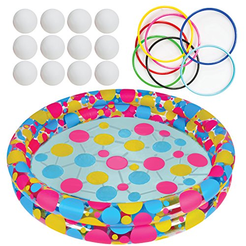 Water Ring Toss Game by Gamie - Super Fun Outdoor Games for Kids - Includes an Inflatable Pool, 12 Floating Rings & 12 Plastic Balls - Best Lawn Yard Birthday Party Activity for Boys & (Halloween Games Adults)
