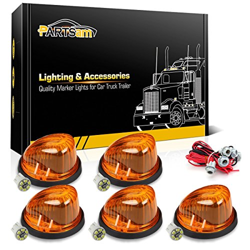 Partsam 5x Cab marker 1313A Round-shape Amber light+2825 T10 6-3020-SMD White LED Bulb+T10 Harness for 1973 - 1987 Chevrolet/GMC C/K 1500 - 3500