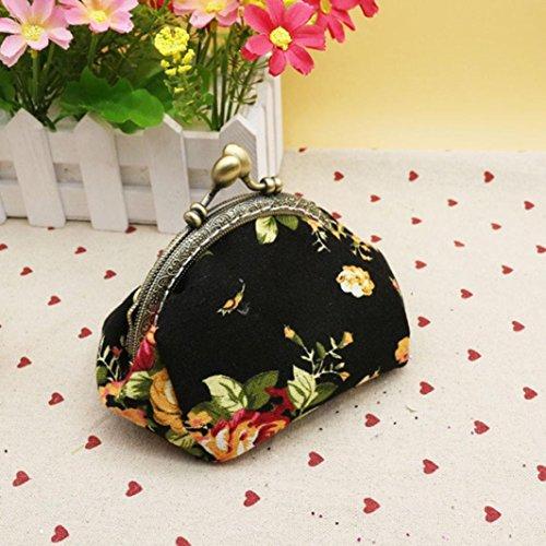 Femmes Clutch Lady QinMM petit porte Purse Bag Hasp Fleur Noir toile monnaie Rose Vintage Chaud rxvCwar