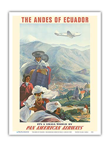Pacifica Island Art - The Andes of Ecuador - South America - Pan American Airways (PAA) - Vintage Airline Travel Poster by Paul George Lawler c.1939 - Master Art Print - 9in x 12in ()
