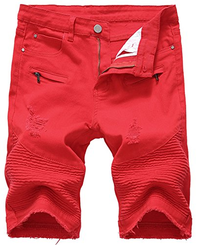 chouyatou Men's Cool Stylish Wrinkle Performance Slim Ripped Denim Shorts (42, Red)