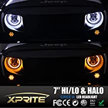 Xprite Round 7-inch 80W 9600 Lumens CREE LED Headlights With Halo DRL For Jeep Wrangler JK TJ LJ 1997-2017