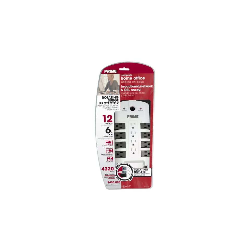 Prime Wire & Cable PB504140 12 Outlet 8 Rotating 4320J with RJ11 , RJ45, Coax and 6 Foot Cord, White
