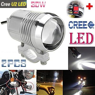 GOODKSSOP 2PCS Super Bright CREE U2 30W LED Spotlight Headlight Work Light Driving Fog Spot Lamp Universal for All Motorcycle ATV Truck With 1pcs ON/OFF Button Switch