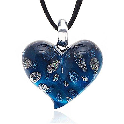Hand Blown Venetian Murano Glass Tiny Flowers Pendant Necklace, 18-20 ()