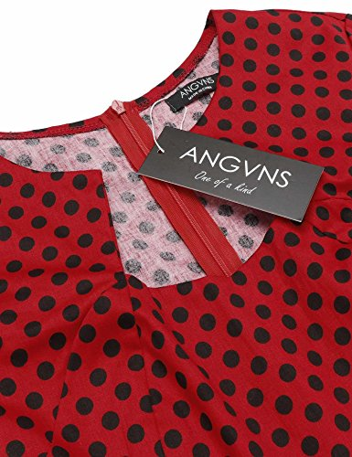 Angvns Femmes Crayon Vintage Cocktail Entreprise Dot Moulantes Casual Midi Robe Rouge Avec Un Point Noir