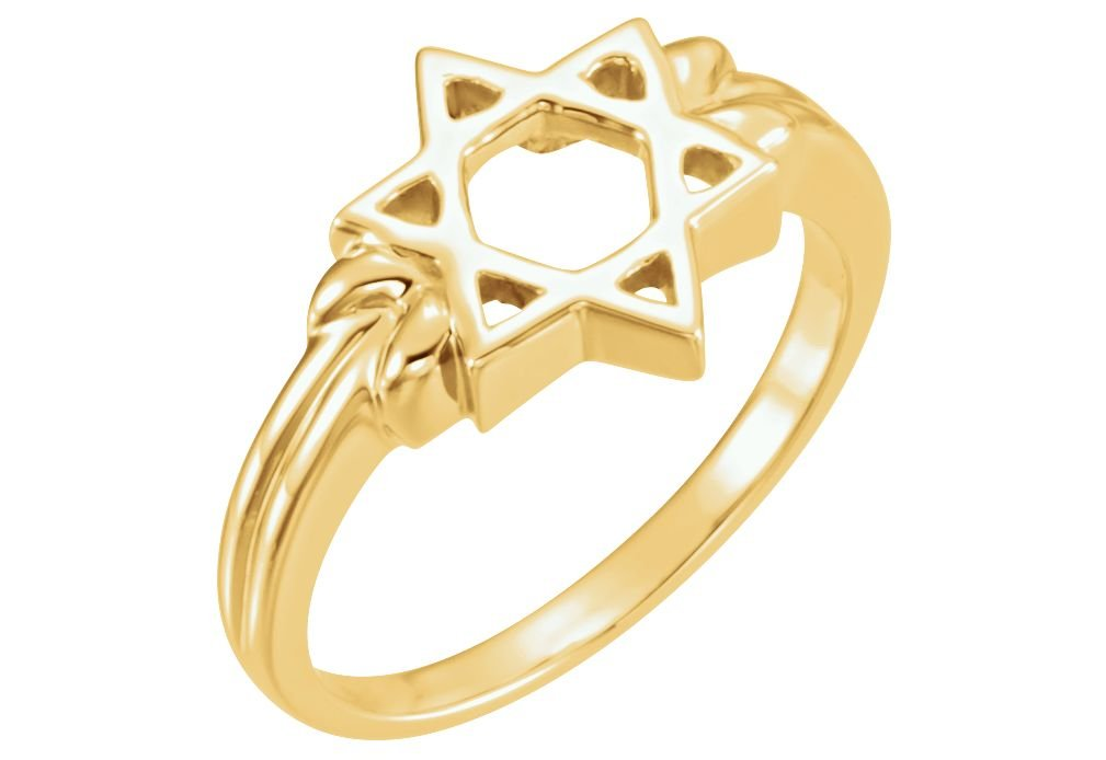 14k Yellow Gold Star of David 12mm Ring, Size 8