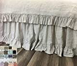 "Linen Bed Skirt with 4"" Country Ruffle Hem, great match of the country ruffle duvet cover, multiple colors, Cottage Beauty, 13-24 drop or custom length, FREE SHIPPING"