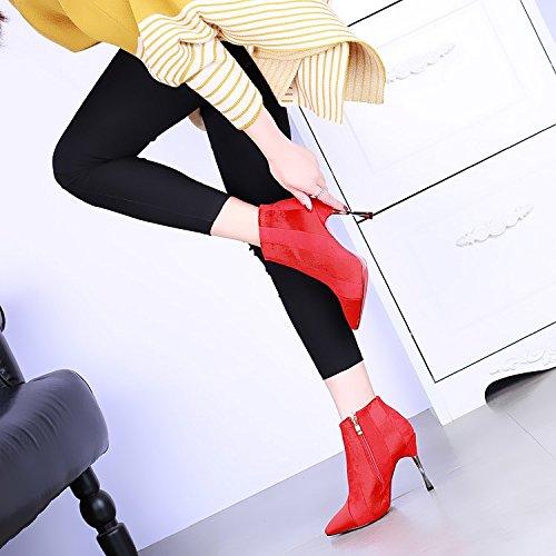 KHSKX-Hochhackigen Stiefel Mit Schönen Mode - Stiefel Stiefeletten Und Sexy Haare Kaschmir Martin Stiefel gules