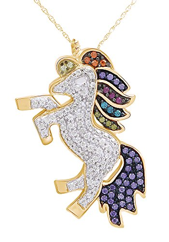 AFFY 14k Yellow Gold Over Sterling Silver Multi Color CZ Unicorn Pendant Necklace ()