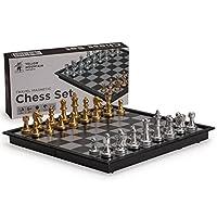 Juego de ajedrez de viaje magnético Yellow Mountain Imports (9,7 pulgadas) - Portátil - Tamaño de viaje perfecto - Piezas de juego completas incluidas en el juego