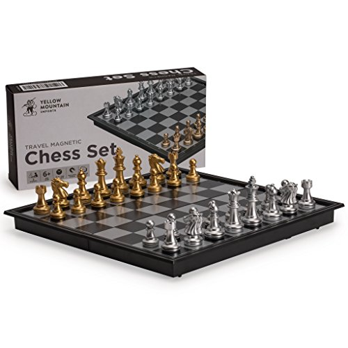 Chess Folding (Yellow Mountain Imports Magnetic Travel Chess Set (9.7 Inches) - Portable - Perfectly Travel-Sized - Complete Playing Pieces Included in Set)
