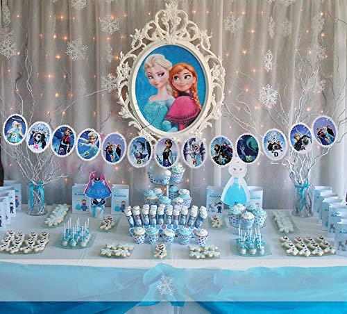Samahara Disney Frozen Birthday Party Banner Princess Themed Happy Birthday Party Decorations -