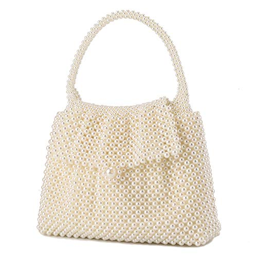 UBORSE Women Pearl Clutch Bag Noble Crystal Beaded Evening Bag Wedding Clutch with Pearl Chain