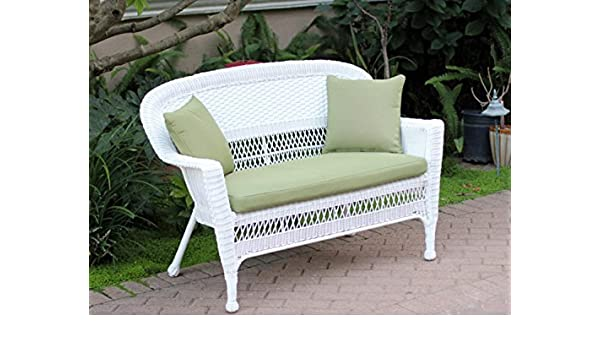 Wondrous Amazon Com 51 Jasmine White Resin Wicker Patio Loveseat Ocoug Best Dining Table And Chair Ideas Images Ocougorg