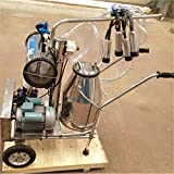 Wotefusi milker Argricultural Portable Stainless Steel Farm Cow Dairy Cattle Milking 110V Milk Collecting Machine Kit Set With One Bucket Tank Container Barrel Cart Vacuum Pump