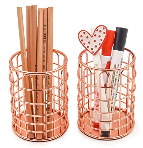 Superbpag Wire Metal Desktop Pencil Holder, Set of 2, Rose Gold