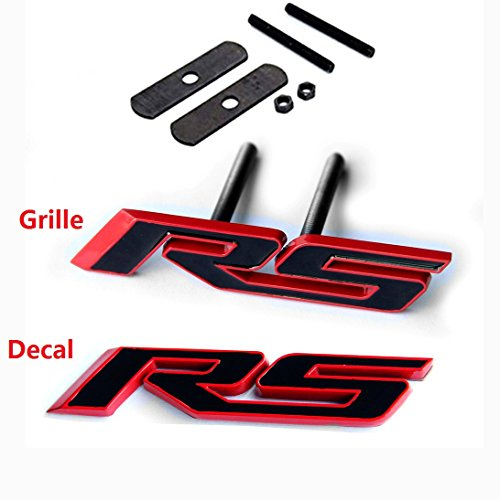 Yoaoo 2x OEM Grille RS Plus Decal Emblem Badge 3d for Camaro Series Red Frame Red Line ()