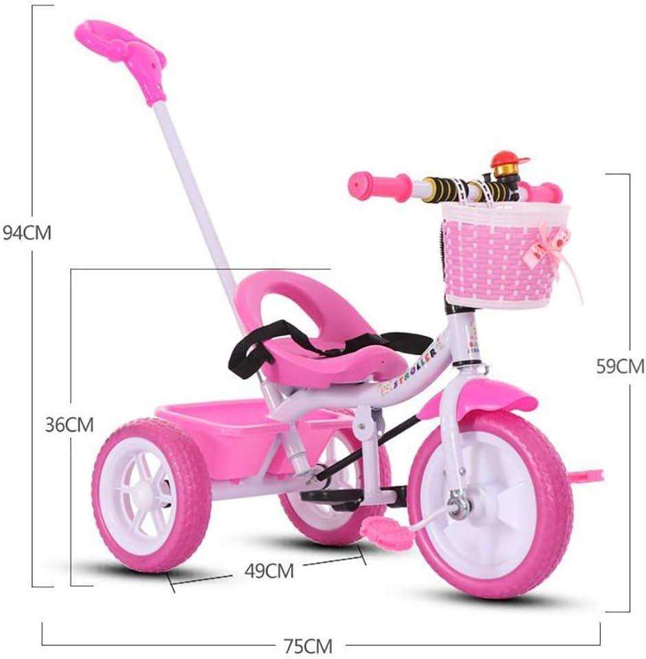 BHDYHM Kids Tricycles Trike 3 Wheel Bike Boys Girls 3 Wheels Removable Push Handle Bar,EVA Soft Wheel,Seat Can Be Adjusted