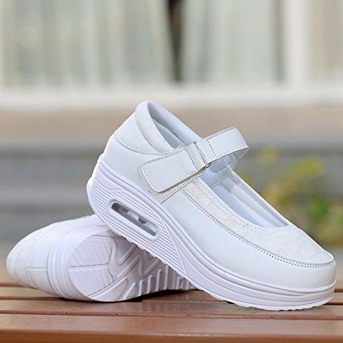 EnllerviiD Damen Sneaker Laufschuhe Plateau Freizeitsschuhe Mesh weiß 38
