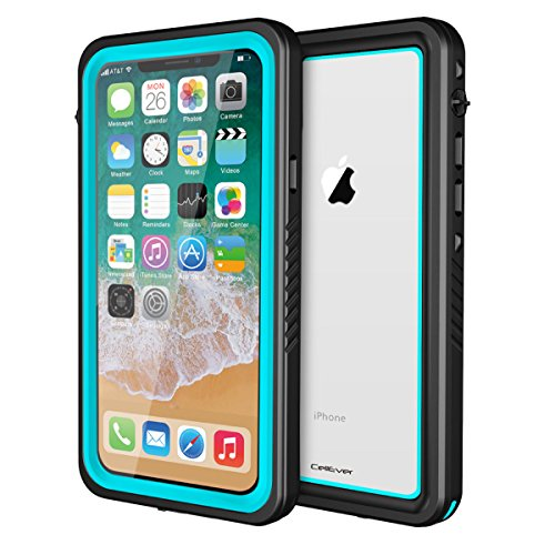 CellEver iPhone Xs/X Case Waterproof Shockproof IP68 Certified SandProof Snowproof Full Body Protective Cover Fits iPhone X/iPhone Xs 5.8 inch - FS Ocean Blue