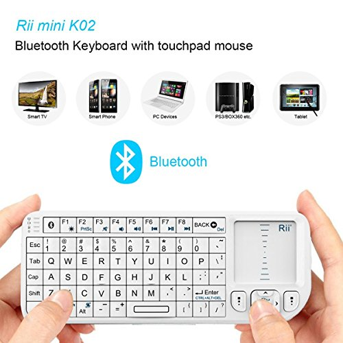 Pointer Mouse Bluetooth (Rii K02+ 4 In 1 Mini Wireless Bluetooth Multi-media Keyboard with Touchpad Mouse,Laser Pointer And Backlit For PC Laptop Raspberry PI HTPC IPTV Google Smart TV Android Box XBMC Windows Vista 7 8 10)